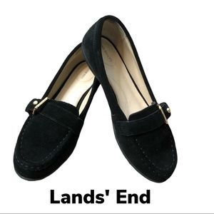 Lands End Slip Resistant Black Suede Loafer